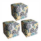 Kit 03 Puffs Quadrado Suede Floral Mandala - Nay Estofados