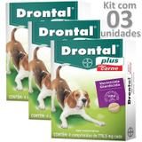 Kit 03cx vermífugo drontal plus carne cães até 10kg - Bayer