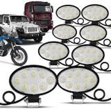 Kit 10 Faróis Milha Oval 8 LEDs 24W 12V/24V Universal Carro Moto Caminhão Jeep Off-Road - Kit prime