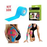 Kit 10 fita kinesio bandagem elastica adesiva funcional tape fisioterapia esportes atadura flexivel - Gimp