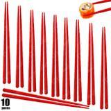 Kit 10 Pares de Hashi para Comida Japonesa 22 Cm Vermelho  Nihon Shikko