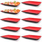 Kit 10 Pratos em Melamina 21x13 Cm Vermelho para Petiscos e Sushis  Fuxing