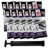 Kit 10 Saco Organizador a Vácuo + Bomba Para Viagem Roupa Cobertor Protetor Com Zíper Clink 50x60cm