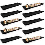 Kit 10 Travessas Estriadas para Sushi em Melamina/Plastico Preta  Utilgoods