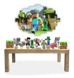 Kit 11 Display Festa Minecraft + Painel Elipse em Mdf 67cm - X4adesivos