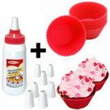 Kit 12 Forminhas de Silicone Vermelhas Cupcake + Decorador com 8 Bicos  injetemp