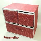 Kit 2 Caixas Organizadoras 29x22x29 Cm Tnt C/ Gaveta Vermelho Wincy