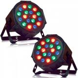 Kit 2 Canhão Led Par Refletor Slim RGB 18 Led 1W DMX Digital - X zhang eletronicos