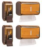 Kit 2 Dispenser Papel Toalha + 2 Saboneteira Premisse Urban Compacta Marrom