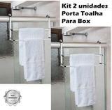 Kit 2 Suporte Porta Toalha Duplo Toalheiro Cromado Box Banho - Future