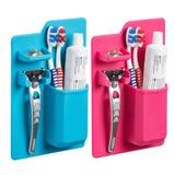 Kit 20 Azul e Rosa Suporte Escova Dente Silicone Pasta Organizador - Ab midia