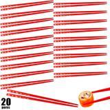 Kit 20 Pares de Hashi para Comida Japonesa 22 Cm Vermelho Decorado  nihon shikko
