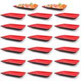 Kit 20 Pratos em Melamina Retangular 21x13 Cm Vermelho para Petiscos e Sushis  Fuxing