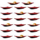 Kit 20 Pratos Retangulares 22cm para Comida Japonesa em Melamina/Plastico Vermelho  Fuxing