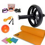 Kit 22 - Kit Treinamento Funcional Roda+corda+tapete+faixa - Ana bely