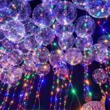 Kit 25 Balão Transparente  Com Led Aniversario Casamento Bexiga - Imp