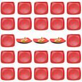 Kit 25 Pratos 22 Cm em Melamina para Petisco e Sushis Vermelho  Fuxing
