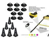 Kit 28 - 6 Cones Furado + 6 Pratos Funcional + Escada Agilidade - Ana bely