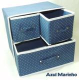 Kit 3 Caixas Organizadoras 29x22x29 Cm Tnt C/ Gaveta Azul Wincy
