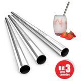 kit 3 Canudos Milk Shake Aço Inox Metal 12mm Reutilizaveis - Ab midia