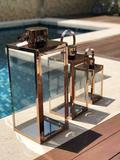 Kit 3 Lanterna Marroquina Inox Vidro Em Cobre 50/38/25cm - Ef