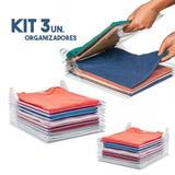 Kit 3 Organizador De Roupas Camisa Guardar Dobrado Casa 10 Divisorias - Braslu