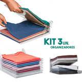 Kit 3 Organizadores De Roupas Camiseta Guardar Dobrado Documentos 10 Divisorias - Ideal