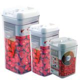 Kit 3 potes de acrílico com fechamento hermético 0,8 , 1,2 e 2,3 L - Dolce Home - Art house