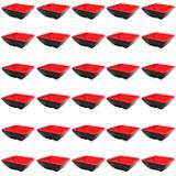 Kit 30 Mini Tigelas Quadradas Molheira em Melamina/Plastico Vermelho  Wincy