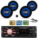 Kit 4 Auto Falante 6 Pol + Radio Carro Mp3 Usb+ Antena Fm - Orion
