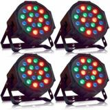 Kit 4 Canhão Led Par Refletor Slim RGB 18 Led 1W DMX Digital - X zhang eletronicos