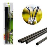 kit 4 Canudos Black Aço Inox Metal Reutilizaveis 1 Escova - Ab midia