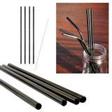 kit 4 Canudos Pretos Aço Inox Reutilizáveis 1 Escova limpeza - Ideal