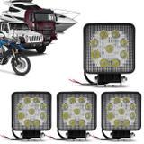 Kit 4 Faróis de Milha Quadrado Universal 9 LEDs 6000K 27W Branco Carro Caminhão Jeep - Prime