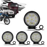 Kit 4 Faróis de Milha Redondo Universal 9 LEDs 6000K 27W Branco Carro Moto Caminhão Jeep - Kit prime