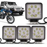 Kit 4 Faróis Milha Quadrado 9 LEDs 27W 12V/24V Universal Carro Moto Caminhão Jeep Off-Road Auxiliar - Kit prime