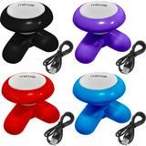 Kit 4 Mini Massageadores Mimo Massager XY3199 Portátil USB Pilha Cores Variadas