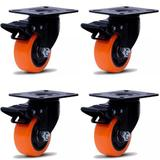 Kit 4 Rodizios Giratorios com Freio GLPBF 1.5/8 com Placa 60X43 Colson 6235