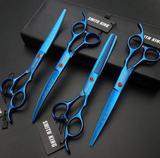 Kit 4 Tesoura Profissional 7 Polegadas Petshop Tosa Navalha Smith King Blue Azul