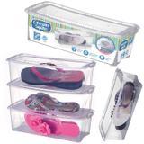 Kit 5 Caixa de Sapato Slim Transparente 1818 Organizador Sapateira Média 36x16x11,5 Cm Arthi