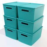 Kit 5 Caixas Organizadoras Rattan Empilhável Grande Verde - Superdigi