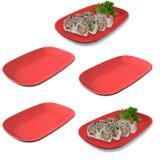 Kit 5 Pratos Ovais em Melamina/Plastico para Sushi Vermelho com Preto  Fuxing