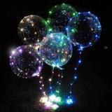 KIT 6 Balão Led + 6 HASTE + 6 VARETA + 6 PAR PILHA - Global br