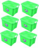 Kit 6 Caixas Organizadoras Verona Verde 56 Litros c/ Trava Uninjet