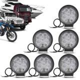 Kit 6 Faróis de Milha Redondo Universal 9 LEDs 6000K 27W Branco Carro Moto Caminhão Jeep - Kit prime