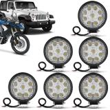 Kit 6 Faróis Milha Redondo Slim 9 LEDs 27W 12V Universal Carro Moto Jeep Off-Road Auxiliar - Kit prime
