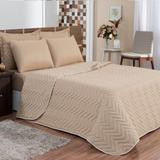 Kit 6 peças Cobre leito + lençol + 4 porta travesseiros Casa Dona Bege