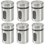 Kit 6 Porta Tempero Condimentos de Cozinha Pote em Vidro e Aço Inox Saleiro Açucareiro - Elegante lar