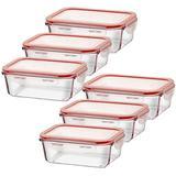 Kit 6 potes vidro retangular com tampa hermética livre de BPA - Casambiente