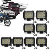 Kit 8 Faróis de Milha Quadrado Universal 6 LEDs 6000K Carro Moto Caminhão Jeep - Prime